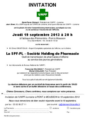 REUNION UNPF 19 Septembre 2013