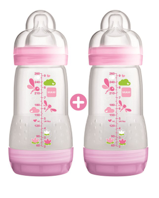 MAM LOT DE 2 BIBERONS ANTI-COLIQUE ROSE DECOR 260ML