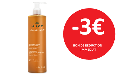 NUXE GEL DOUCHE REVE DE MIEL 400 ML -3€