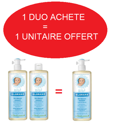 KLORANE BEBE GEL DOUCEUR MOUSSANT 2X500ML