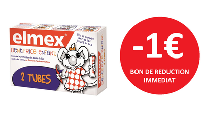 ELMEX DENTIFRICE ENFANT 2X50 ML -1€