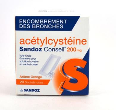 ACETYLCYSTEINE SANDOZ 200MG 20 SACHETS