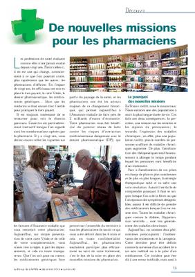 De nouvelles missions pour les pharmaciens