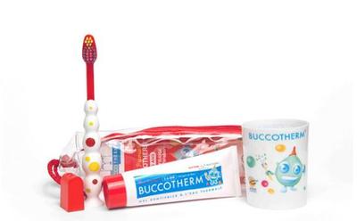 BUCCOTHERM trousse brosse à dents + gobelet + dentifrice fraise 2/6ans