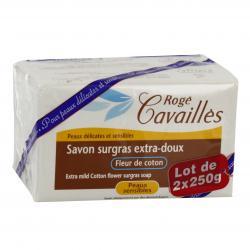 CAVAILLES SAVON SURGRAS FLEUR DE COTON 250 G X2
