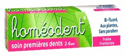 HOMEODENT DENTIFRICE SOIN PREMIERES DENTS FRAISE/FRAMBOISE 50ML