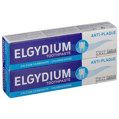 ELGYDIUM Dentifrice Anti-plaque dentaire lot de 2 tubes 75ml