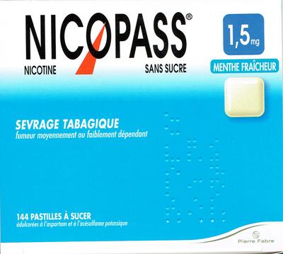 NICOPASS 1,5MG 144 PASTILLES MENTHE FRAICHEUR