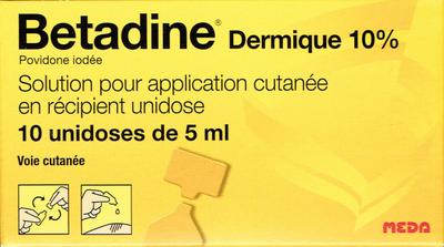 BETADINE 10% SOL DERMIQUE 10 DOSES DE 5ML