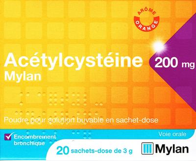 ACETYLCYSTEINE 200MG MYLAN 20 SACHETS