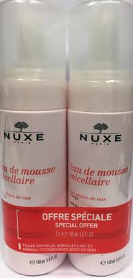 NUXE EAU MOUSSE MICELLAIRE A LA ROSE 2x150ML