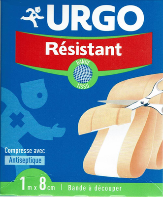 URGO PANSEMENT ANTISEPT RESIST BDE 1MX8CM