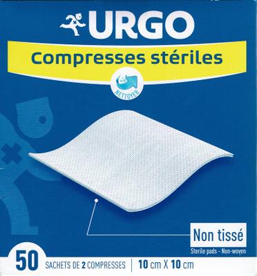 URGO COMPRESSES STERILES 10X10 BT 50