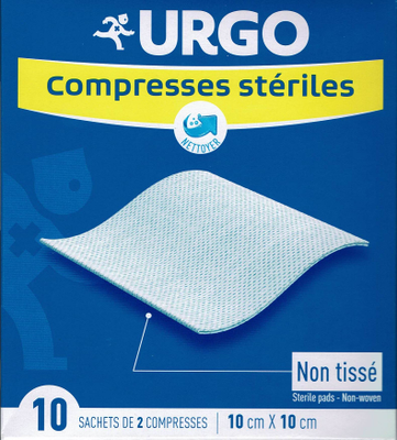 URGO COMPRESSES STERILES NON TISSEES 10X10 BT 10