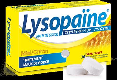 LYSOPAINE 36 CPR A SUCER MIEL CITRON SANS SUCRE