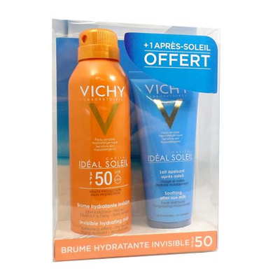Vichy Solaire Ideal Soleil Brume Hydratante Invisible SPF50+ 200 ml + Lait Apaisant 100 ml OFFERT