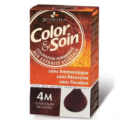 COLOR  SOIN Coloration aux extraits végétaux châtain acajou n° 4M