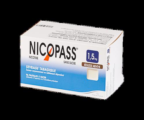 NICOPASS 1,5MG 96PASTILLES SANS SUCRE REGLISSE