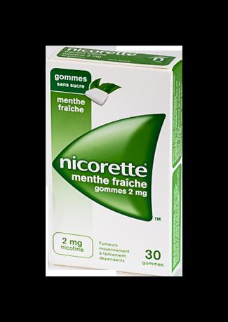 NICORETTE 2MG 30 GOMMES SANS SUCRE MENTHE FRAICHE