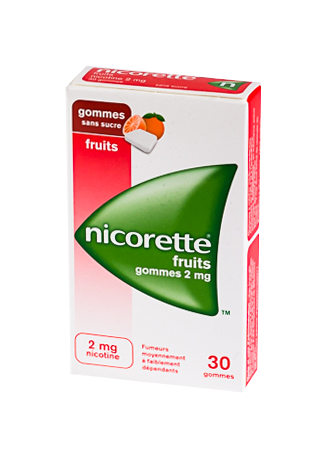 NICORETTE 2MG 30GOMMES SANS SUCRE FRUITS