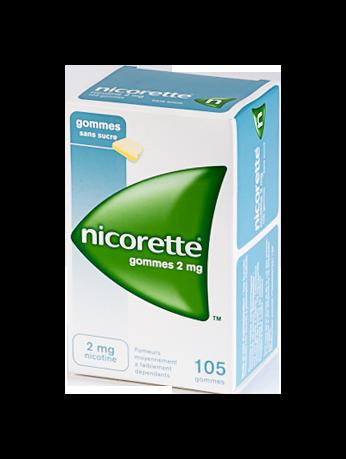 NICORETTE 2MG 105GOMMES SANS SUCRE