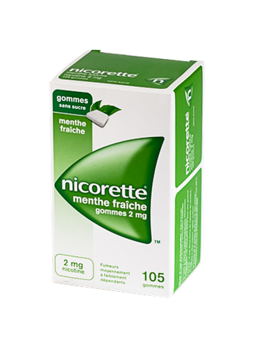 NICORETTE 2MG 105GOMMES SANS SUCRE MENTHE FRAICHE