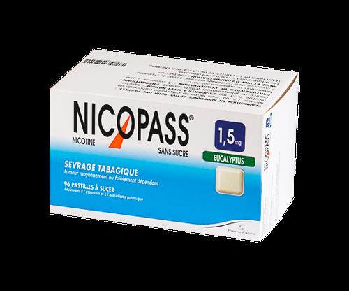 NICOPASS 1,5MG EUCALYPTUS 96PASTILLES SANS SUCRE