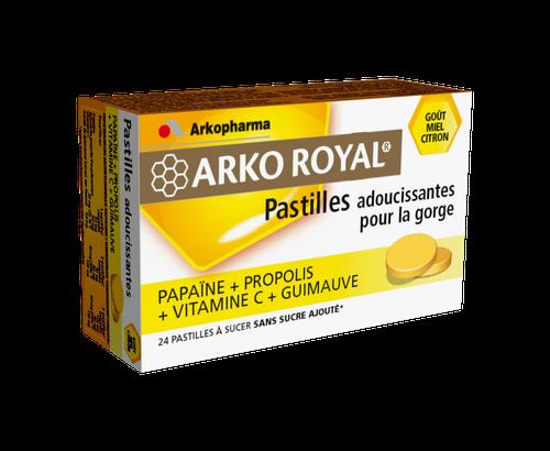 ARKOROYAL 24 PASTILLES PROPALIS PAPAÏNE SANS SUCRE MIEL/CITRON