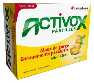 ACTIVOX PASTILLES ADOUCIT LA GORGE MIEL-CITRON SANS SUCRE 24 PASTILLES