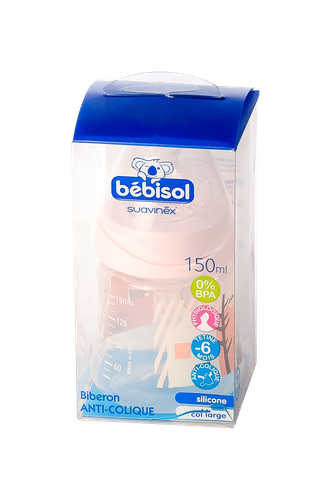 BIBERON BEBISOL COL LARGE + TETINE PHYSIOLOGIQUE 150 ML