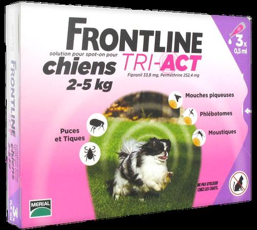 FRONTLINE TRI-ACT CHIEN XS 2-5KGS SPOTON 3 PIPETTES