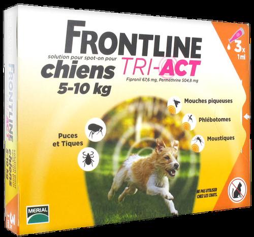 FRONTLINE TRI-ACT CHIEN S 5-10KGS SPOTON 3 PIPETTES