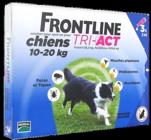FRONTLINE TRI-ACT CHIEN M 10-20KGS SPOTON 3 PIPETTES