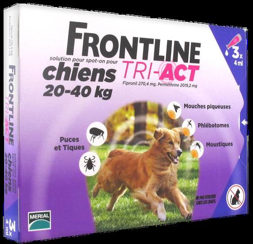 FRONTLINE TRI-ACT CHIEN L 20-40KGS SPOTON 3 PIPETTES