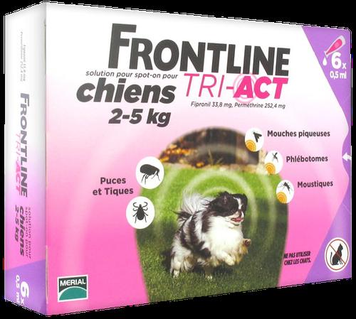 FRONTLINE TRI-ACT CHIEN XS 2-5KGS SPOTON 6 PIPETTES