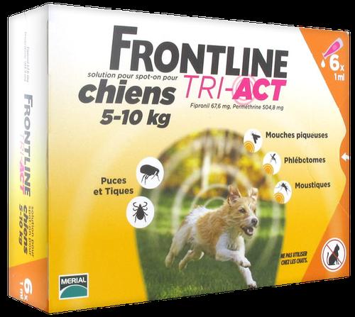 FRONTLINE TRI-ACT CHIEN S 5-10KGS SPOTON 6 PIPETTES