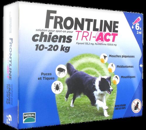 FRONTLINE TRI-ACT CHIEN M 10-20KGS SPOTON 6 PIPETTES