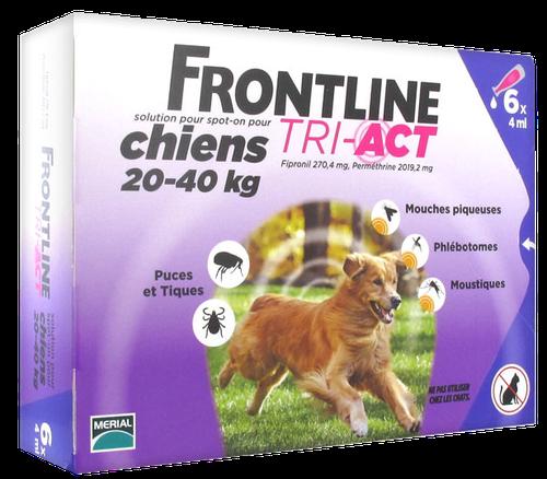 FRONTLINE TRI-ACT CHIEN L 20-40KGS SPOTON 6 PIPETTES