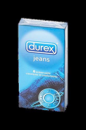 DUREX Classic Jeans préservatifs lubrifiés avec réservoir boîte  de 6