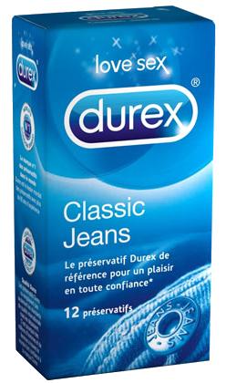DUREX Classic Jeans préservatifs lubrifiés avec réservoir boîte  de 12