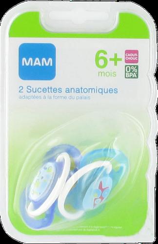 SUCETTE MAM ANATOMIQUE CAOUTCHOUC DECO 2EME AGE +6 MOIS x2